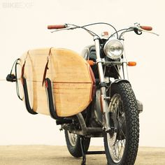 BMW R65 light touring motorbike + surfboard rack!