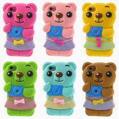 #3D bowknot bear silicone cases for #iPhone4s/4