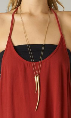 DOUBLE GOLD HORN NECKLACE
