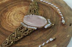 Collar macrame con Cuarzo rosa