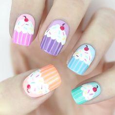 40 Awesome Nail Art Ideas by Hannah Weir - List Inspire Cute Nail Art, Easy Nail Art, Cute Nails, My Nails, Nails For Kids, Girls Nails, Stylish Nails, Trendy Nails, Nail Art Cupcake