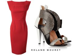 These 2 go together so well and both very statement with class - Roland Mouret Watson Dress in Red is devine with Roland Mouret Dolls Shoes - Loving everything about the dress and booties!