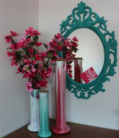 I need to do a mirror like this in coral for the bedroom.  Annine Sloan Chalk Paint® Vase and Mirror repurposed by Interiors to Inspire.