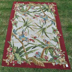 6'x9' Handmade Tropical Parrots Foliage Wool Needlepoint Rug w Dark Red Border