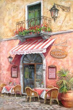 La Laterna - Painting by Surbiton Surrey Artist Malcolm Surridge - Painting Commissions Invited Pintura Colonial, Images Victoriennes, La Trattoria, Illustration Art, Illustrations, Cafe Art, French Cafe, Beautiful Paintings, Watercolor Art