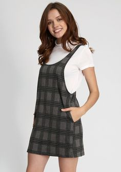 Gray plaid mini dress with contrast t-shirt, mock neckline, short sleeves  and hidden side pockets. bust length from top of shoulder Measurements  taken from ...