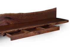 Claro Walnut Floating Desk (wall mounted) / Solid Claro Walnut Recessed Drawers