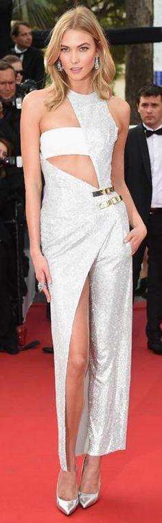 Karlie Kloss in Atelier Versace at Cannes 2015 Film Festival. / karen cox.