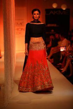 Lakme Winter 2013 Manish Malhotra red glitter lehnga with black blouse