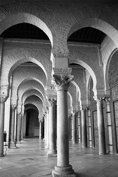 Arches of Kairouan. Black and white photography by Donna Corless. Carthage, Islamic Architecture, Art And Architecture, Beautiful Places To Visit, Places To See, Travel Sights, Islamic World, Islamic Art, The Beautiful Country