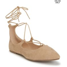 Aeropostale Wild Diva Lounge Strappy Ballet Flat ($20) ❤ liked on Polyvore featuring shoes, flats, nude beige, ballet flat shoes, t-strap flats, strappy ballet flats, beige shoes and nude ballet flats