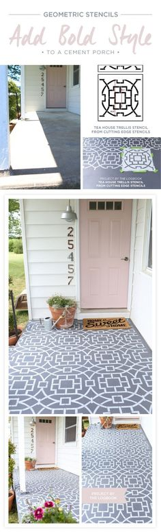 Geometric Stencils Add Bold Style To A Concrete Porch Cutting Edge Stencils shares a DIY stenciled concrete porch makeover using the Tea House Trellis Allover Stencil. Diy Patio, Backyard Patio, Patio Ideas, Diy Front Porch Ideas, Diy Porch, Geometric Stencil, Patio Slabs, Diy Terrasse, Patio Makeover