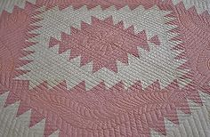 Antique Hand Stitched Feathered Diamond Quilt Never Washed