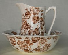 Vintage English Brown Transferware Pitcher and Bowl / Basin Floral and Vine Florette