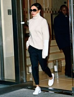 Why Victoria Beckham Has Given Up on One of Her Major Style Signatures - victoria beckham white sweater sneakers - Moda Victoria Beckham, Victoria Beckham Outfits, Victoria Beckham Style, Victoria Beckham Fashion, Fashion Mode, Look Fashion, Trendy Fashion, Winter Fashion, Trendy Style