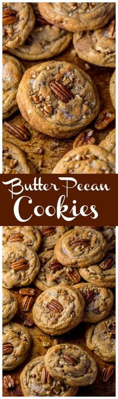 Thick, chewy, and insanely delicious Butter Pecan Cookies! And they're freezer friendly, too! #christmas