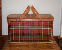 Tartan Plaid Woven Picnic Basket, Large Redmon Co Maroon Red Black Yellow Basket, Wedding, Cabin Farmhouse Decor, Collectible, Rustic Chic - SOLD! :)