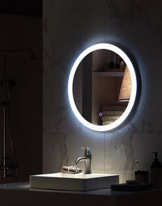 miroir rond led lumineux touche sensitive et anti bu e. Black Bedroom Furniture Sets. Home Design Ideas