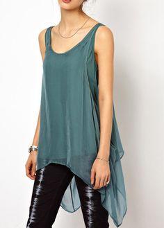 Vogue Strap Design Open Back High Low Vest | Rosewe.com
