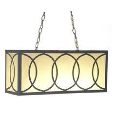 French Iron & Linen Charles Rectangular Chandelier 6 Light