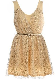 Belted Sequin Dress from Rickety Rack - love sparklies!