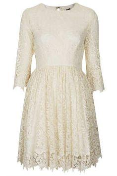 Scallop Hem Lace Dress - Dresses  - Clothing