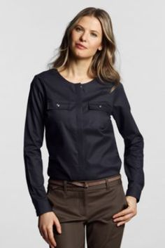 Women's Long Sleeve No Iron Pinpoint Jewelneck Shirt from Lands' End