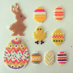 365 mood boards in 2014. Mood board #103: Easter Hama beads decorations. Instagram filter Valencia. Photographer: Susanne Randers
