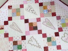 Valentine hearts ... 6 free downloadable little stitchery hearts for you to make! www.kviltstina.com