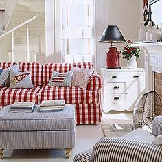 country cottage: This style is relaxed and casual.  Think cozy farmhouse with warm woods, rustic furniture and antiques.  Use colors of red, green, blue and yellow with floral, striped and checked fabrics.  Accessories include quilts, stoneware pottery, twig baskets, embroidered linens and books. elizabethfoss