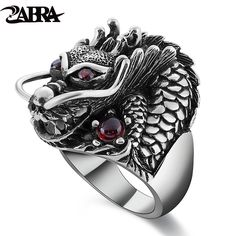 ZABRA 100% Solid 925 Sterling Silver Dragon Red Zircon Eye Domineering Men  Ring Vintage Punk 2626db37f6