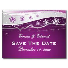 Purple, white snowflakes silver grey winter wedding Save the Date postcard, part of a wedding set. #weddings, #SavetheDate #postcards, #silver, #grey, #purple, #snowflakes, #winterwedding  See more designs http://www.zazzle.com/weddings_?rf=238228936251904937=zBookmarklet