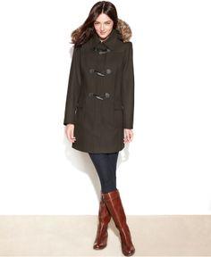 Tommy Hilfiger Coat, Hooded Faux-Fur-Trim Toggle-Front Duffle - Coats - Women - Macy's