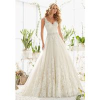Affordable Elegant Chic Bridal V-neck Sleeveless Sexy Low Back Organza Beading Belt Appliques Wedding Dresses Long Train