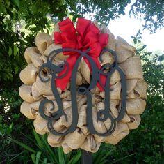 Initial Burlap Wreath