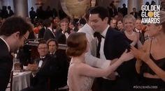 Emma Stone's Awkward Hug Is the Best GIF of the Golden Globes via @WhoWhatWearUK