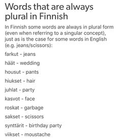 Words that are always plural in Finnish – Bankgeschäfte Finnish Grammar, Finnish Words, Finnish Language, Language Study, Learn A New Language, Design Language, Plural Words, Learn Finnish, Genius Hour