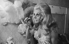 Danny La Rue undergoing a transformation in his dressing room prior to going on stage on April 6th, 1970