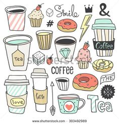 Sign in - Coffee Icon - Ideas of Coffee Icon - Vector hand drawn coffee and sweets collection. Plastic and paper coffee and tea cups donuts cupcakes cute elements. Use for menu design web page background poster birthday card surface texture Doodle Drawings, Cute Drawings, Doodle Art, Doodle Inspiration, Bullet Journal Inspiration, Coffee Doodle, Cupcake Illustration, Thank You Card Design, Cute Doodles