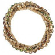 Amazon.com: Designer Inspired Bracelet. Twist Stretch Bracelet / Gold Plated / Color: Green & Brown & Topaz: Jewelry
