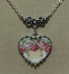Broken China Jewelry Silesia Pink Cabbage Roses On by robinsrelics, $36.00