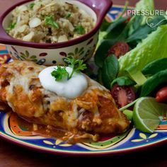 Salsa Chicken - Pressure Cooker  1 cup mild or medium salsa 1 cup tomato sauce 4 large boneless, skinless chicken breasts, frozen* 1/2 teaspoon of salt 1/4 teaspoon of pepper Juice from 2 limes 1 cup grated low-fat Mozzarella