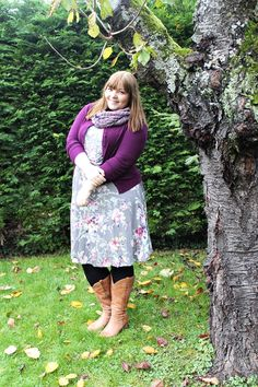 Lila Blumen im Winter {What I Wore} | Plus Size Outfit with a floral Peter Hahn dress