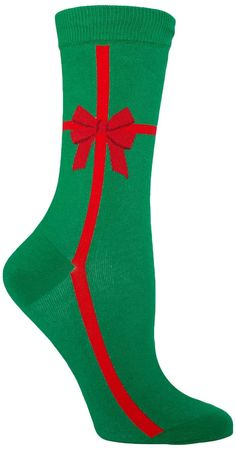 A present, wrapped up as a present… it's Christmas-ception. With a classic green and red color scheme, this fun Christmas sock comes pre-wrapped, and ready to be wrapped around your feet. Regardless o