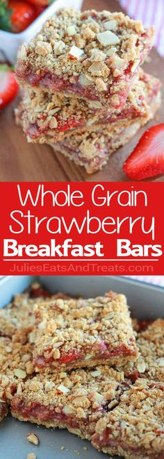 Whole Grain Strawberry Breakfast Bars - A simple recipe for whole grain breakfast bars made with oats and almonds, and filled with strawberries. via @julieseats