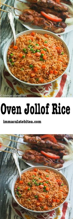 Easy, flavorful and perfectly cooked Jollof rice made completely in the in the oven, 5 min prep – no blending or stirring involve. Simply put, the easiest rice you would ever make. Jollof rice is a legendary one-pot dish tha Rice Recipes, Chicken Recipes, Cooking Recipes, Healthy Recipes, Recipies, Rice Dishes, Food Dishes, Jollof Reis, Jellof Rice