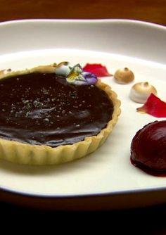 ROSEMARY SALTED DARK & MILK CHOCOLATE TART with ROSEMARY BEET SORBET [Mimi Baines] [masterchef au contest] [tenplay]