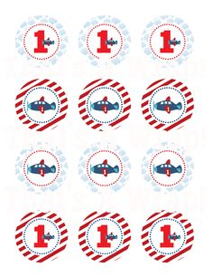 Boy Airplane Custom Birthday Party Printable Circles in Red White and Blue. $10.00, via Etsy.