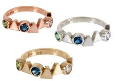 Our love affair with Lucy Folk continues. Delicate rings made of gold, white gold, rose gold, each intertwined with. Big Rings, Delicate Rings, To My Daughter, Folk, Sapphire, White Gold, Husband, Rose Gold, Jewellery