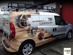 Vehicle wrap for a carpentry company. Looks pretty cool even if we do say so ourselves. Custom Trailers, Custom Trucks, Van Signwriting, Van Signage, Toy Hauler Trailers, Vehicle Signage, Coffee Van, Van Wrap, Van Design